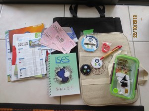 Our goodybag! Lots and lots of literature, notebooks, badges, a lunchbox (?!) and vouchers!